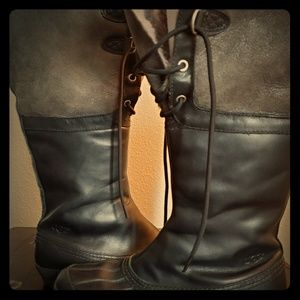 belcloud black and gray waterproof leather boots
